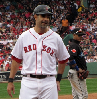 Mike Lowell looks pleased while Yunel Escobar seems to glare at him. One of the shots I took yesterday.