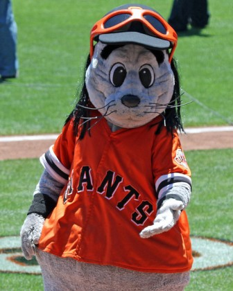 Lou Seal in his Tim Lincecum wig.  Go Giants!  Photo courtesy of Kelly O'Connor/sittingstill.smugmug.com and used with permission.