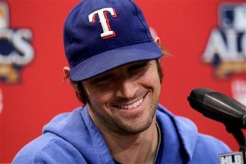 Photo of CJ Wilson in a happier time (Thursday) lifted and used without permisison.  (AP Photo/Tony Gutierrez)
