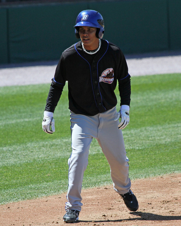 Ruben Tejada playing for the Buffalo Bisons in 2010 - photo courtesy of Kelly O'Connor/sittingstill and used with permission